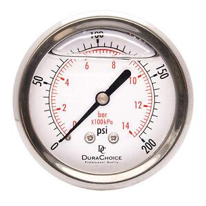 """2-1/2"""" Liquid Filled Pressure Gauges - 1/4"""" NPT Center Back Mount 200PSI"""