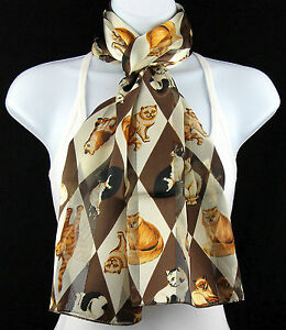 d143de90b51 Details about Harlequin Cats Women's Scarf Kitten Pet Gift Her Animal Brown  Cream Scarves