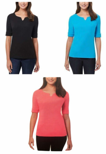 Ellen Tracy Womens V-Neck Elbow Sleeve Shirt