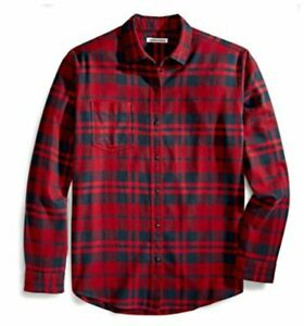 Essentials-Men-039-s-Regular-Fit-Long-Sleeve-Plaid-Red-Plaid-Size-Medium