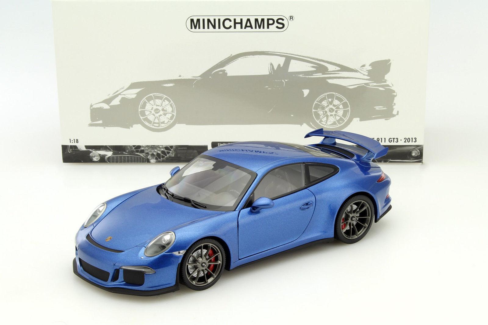 almacén al por mayor Minichamps 2013 Porsche 911 991 GT3 Azul Azul Azul Metálico 1 18 artículo raro le 300 un.New  sin mínimo