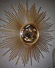 Glace / miroir soleil oeil de sorcière à aiguilles en tôle doré