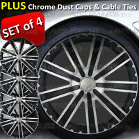 "15"" Black Silver Multi Spoke Car Wheel Trims Hub Covers + 8 Ties and 4 Dust Caps"