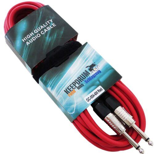 keepdrum GC-004 RD Rot 6m Instrumentenkabel Klinke 6,3mm Kabelbinder