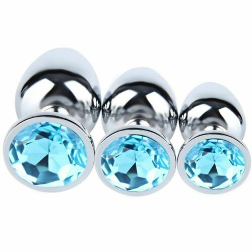 S M L Blue Stainless Steel Plug Anal Diamond shape Jeweled Butt Suction Cup