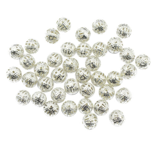 100x Silver Metal Round Ball Spacer Beads Crafts DIY Jewellery Findings 8mm