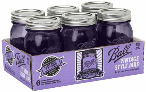 Tint Purple Pint 6 Pack 16 OZ Mason Jars w Lids Canning Ball Heritage Collection