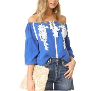 Line & Dot Valor Off Shoulder Top Blue White Size Small Date Night Vacation