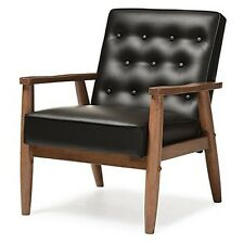 Mid-Century Retro Modern Black Faux Leather Upholstered Wooden Lounge Chair