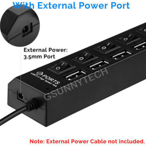 Port USB 2.0 Multi Charger Hub 7 High Speed Adapter ON//OFF Switch PC Laptop