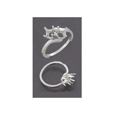 (5mm-6mm) Round (2) Stone Bypass Sterling .925  Ring Setting (Ring Size 7 )