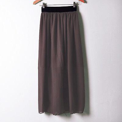 Coffee | Women Chiffon Pleated Retro Long Maxi Dress Waist Skirt Hot | 25 Color