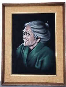 b97514b71f672 Details about Black Velvet Asian Woman Vintage Oil Painting 23