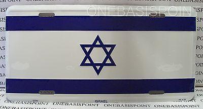 ISRAEL FLAG LICENSE PLATE ALUMINUM JEWISH HEBREW EMBOSSED SIGN CAR TAG AUTO NEW