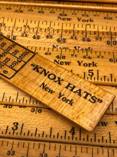 "KNOX HATS 1 Vintage NOS 6"" Advertising Ruler New York w// Hat Measurements MINT"