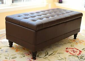 Tufted storage ottoman dark brown faux leather bench foot rest coffee table new ebay Dark brown leather ottoman coffee table