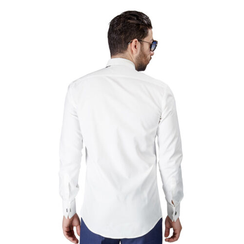 Mens Slim Fit Ivory// Off White Tuxedo Shirt French Cuff Wrinkle Free by Azar Man