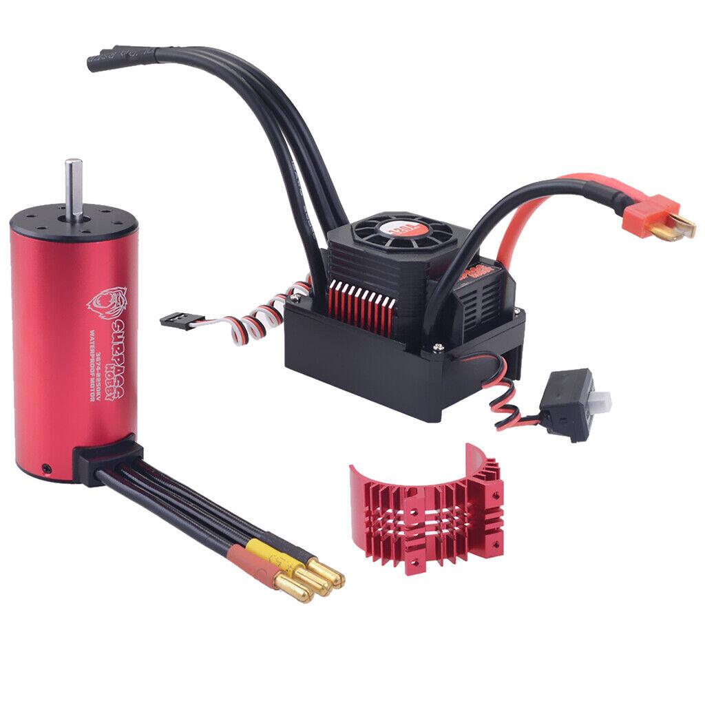 3674 2350kv Brushless Motor Waterproof and ESC 120A & Heatsink Cover 1 10 RC