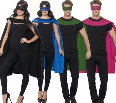 Donna Uomo Super Eroe Mantelle Vestito Per Halloween Accessoey & Maschera