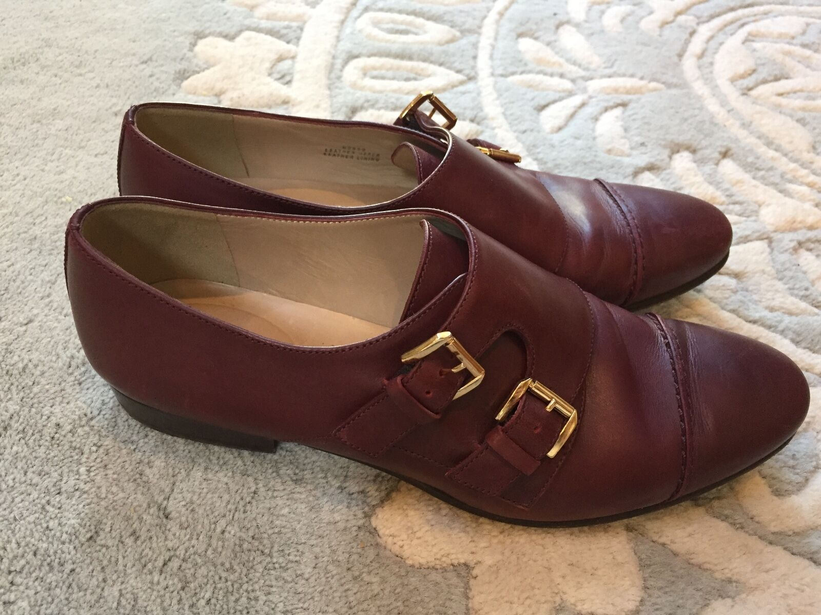 J. Crew Oxblood Red Leather Double Monk Strap shoes Made in  7