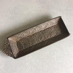 Vide-poche-acier-medieval-Antique-Pen-Desktop-Tray-Case-victorian-cast-iron