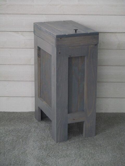 Wood Trash Can Kitchen Garbage Can Rustic Wood Trash Bin Gray Stain 13 Gallon