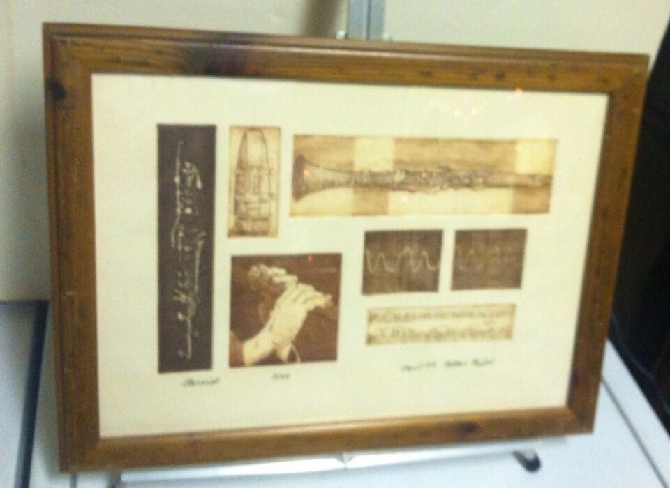 Rare Engraving 7 Of 20  Clarinet  7 Different Images Of Clarinet Signed & Framed