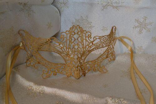 Gold Lace Venetian Masquerade Mask Gold Satin Ribbons Weddings Balls Proms
