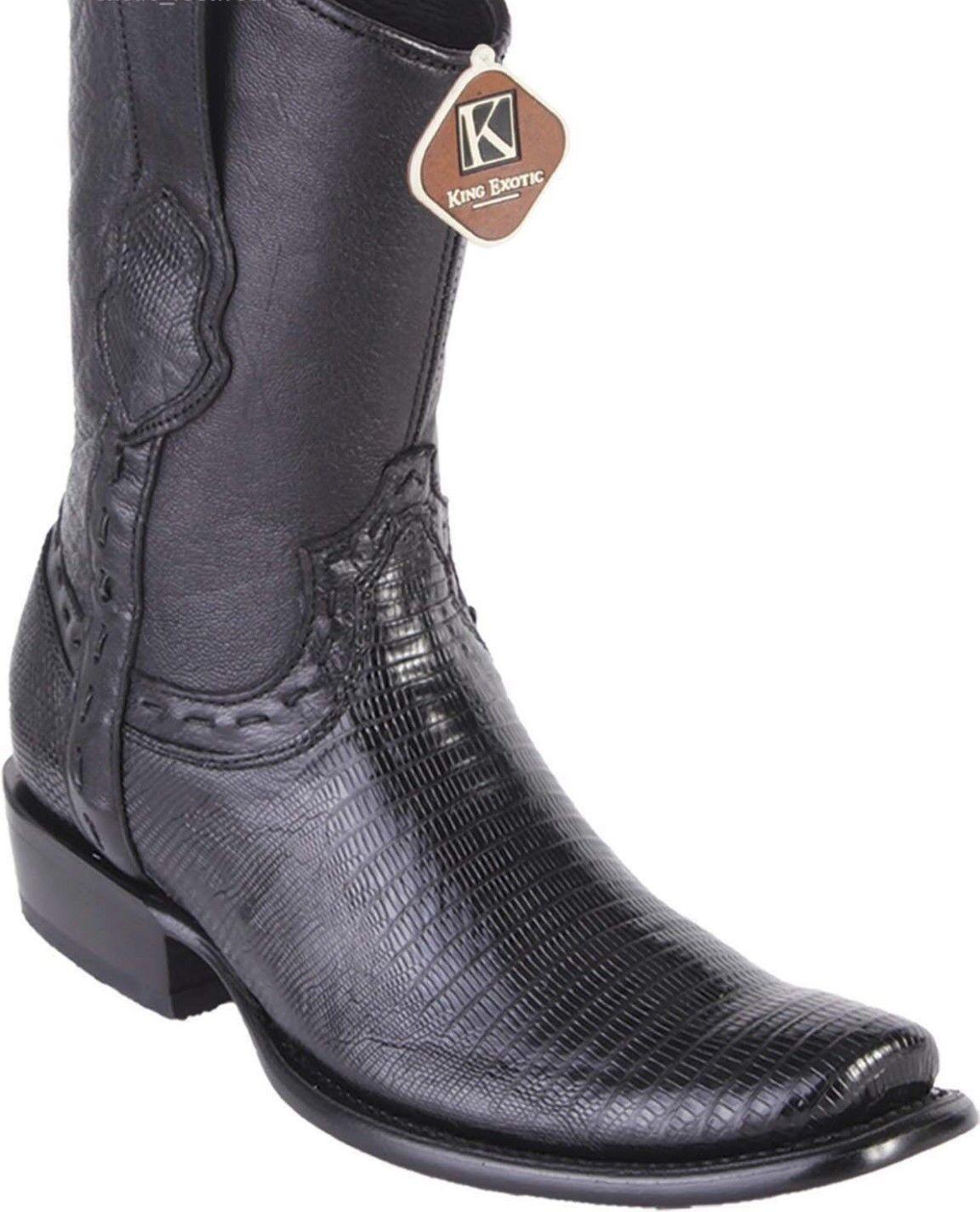 King Exotic BLACK TEJU LIZARD Western Boot Side Zipper Mid Calf EE+