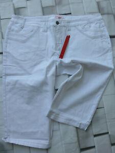 Ladies-Women-039-s-Jeans-Bermuda-Capri-Pants-Sheego-Size-40-to-52-White-New-348