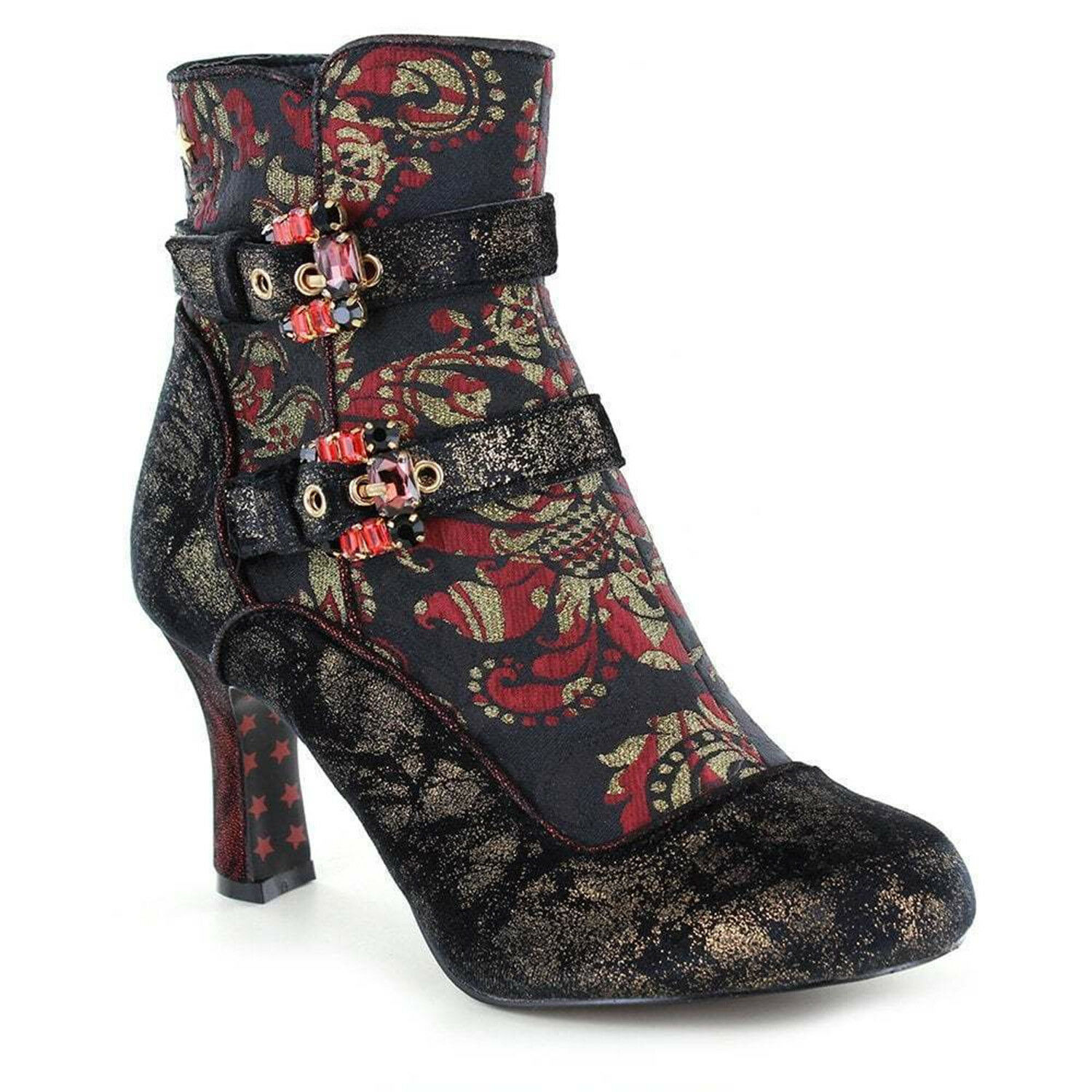Joe Browns Victoria Black Ruby Red Brocade Gothic Steampunk Victorian LARP Boots