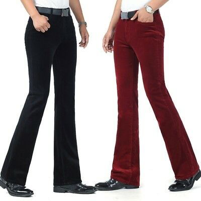 Details about Men's Stretch Corduroy Flared Trousers Pants Fitted Bell Bottom Vintage Leisure