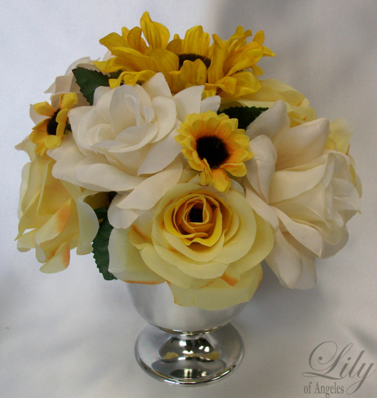6 CUP Centerpieces Wedding Decoration Arrangement Sunflower Gelb braun IVORY