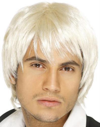 Men/'s Platinum Bleach Blonde Surfer Boy Band Idol Fringe Wig