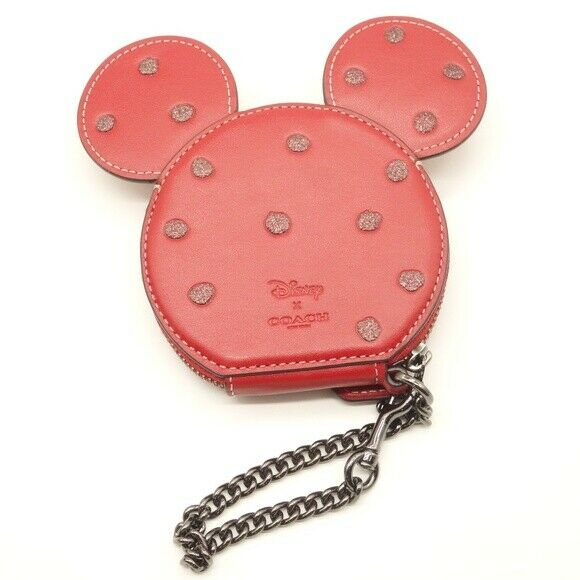 NEW Coach X Disney Minnie Mouse Coin Case Wristlet Red Leather Polka Dot