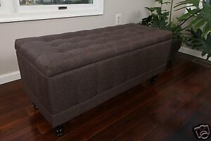 large tufted storage ottoman chocolate brown fabric bench foot rest