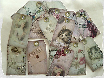 Set of 15 Vintage Style Shabby Chic Mini Gift Tags