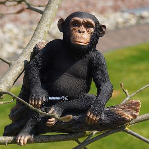 Schimpanse-Affe-auf-Ast-Figur-Statue-Deko-Afrika-Wildtiere-Urwald-Zoo-Dekoration