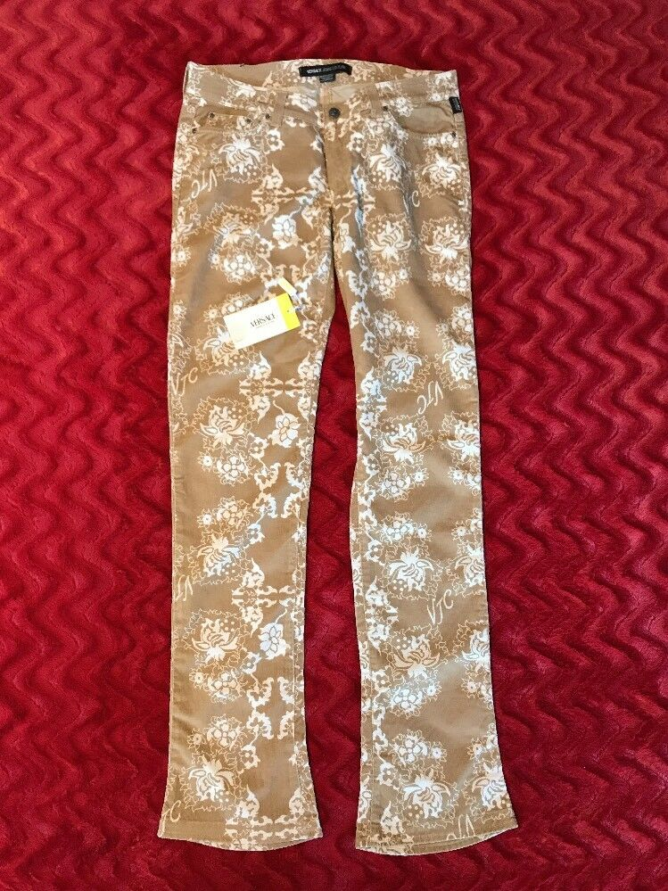 Versace Jeans Couture Rare  Tan Flower Patterned Corduroy Boot Cut Jeans US 10