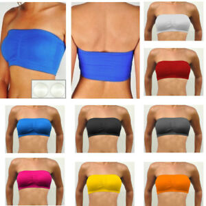 5d46aa33b3 1 Womens Strapless Padded Bra Bandeau Stretch Tube Top Removable ...
