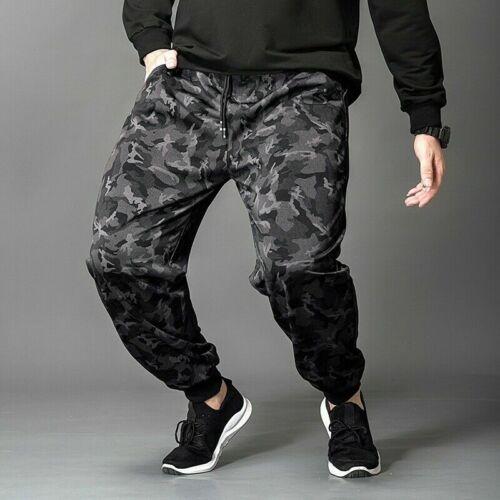 Men Camouflage Harem Pants Fleece Lined Plus Size Loose Trouser Winter Jog Sport