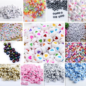NEW-200-1000pcs-7mm-Mixed-A-Z-Alphabet-Letter-Acrylic-Spacer-Beads-heart-bead