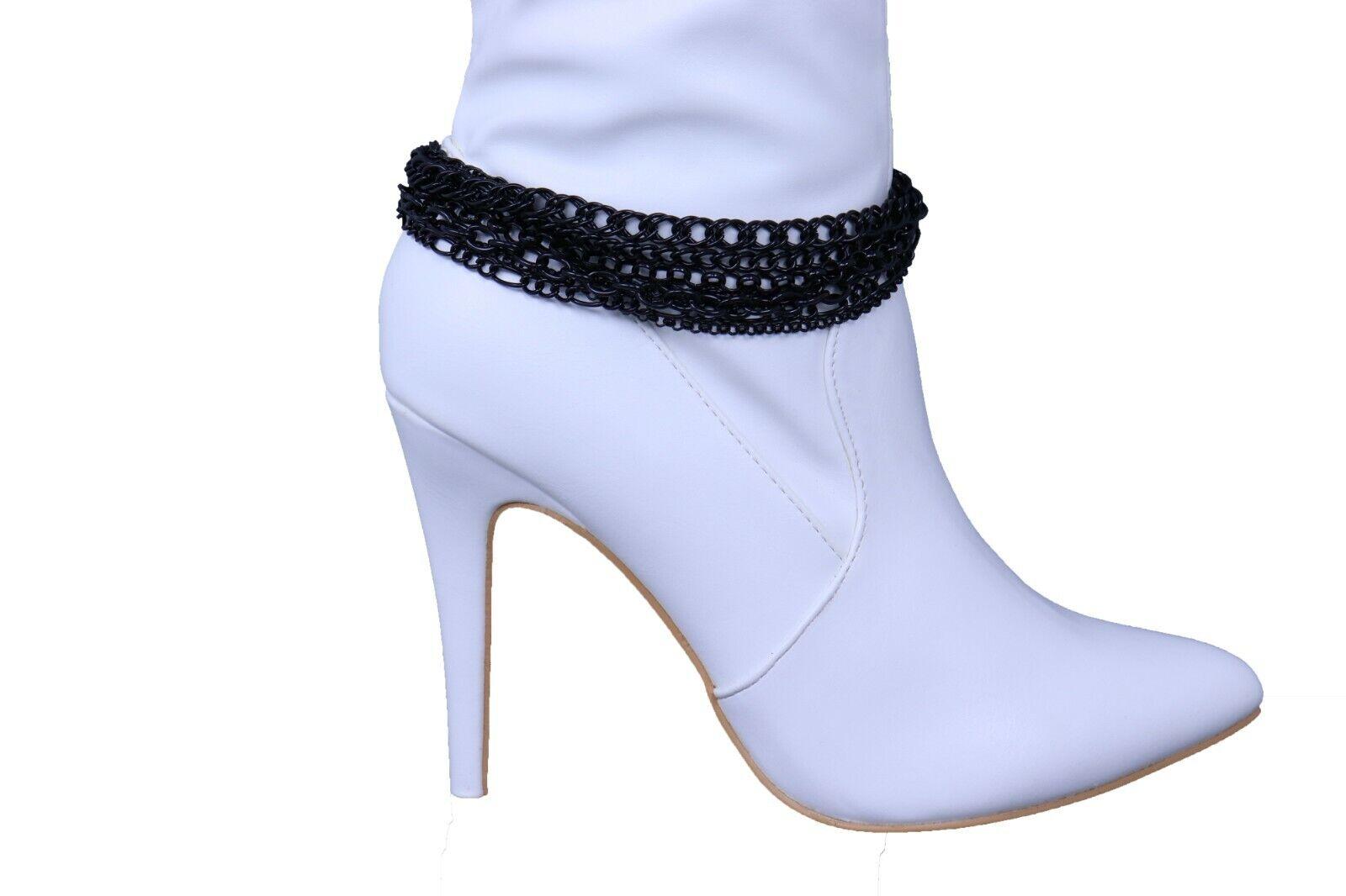 Women Black Metal Chain Boot Bracelet Anklet Shoe Wave Charm Texas Western Style