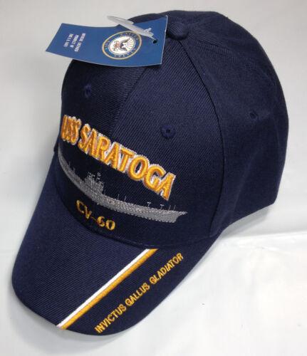 USS Saratoga CV 60 Ball Cap Embroidered US Navy Veteran Aircraft Carrier USN Hat