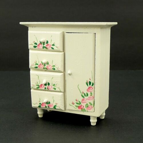 Doll House Furniture Wardrobe Dresser Real Wood Hand Painted White Pink Roses