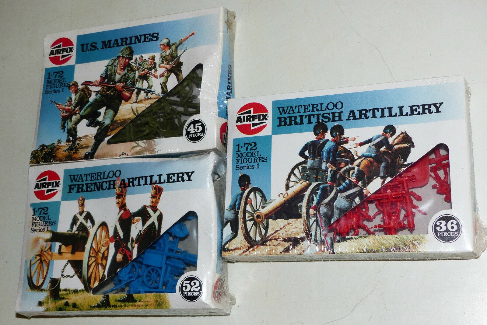 3x Airfix figuras set 01716 marines, 01746 British - 01737 French Artillery 1 72