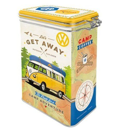 Retro VW Campervan BULLI Lets Get Away CLIP TOP STORAGE TIN Biscuit Canister