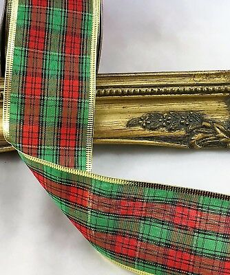5 or 2 yards TARTAN WIRED EDGE CHRISTMAS RIBBON 63mm WIDE X 10 YARDS