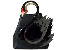 A-SHU DESIGNER STYLE NOVELTY BLACK SWAN 3D 2-WAY HOLDALL HANDBAG WITH LONG STRAP
