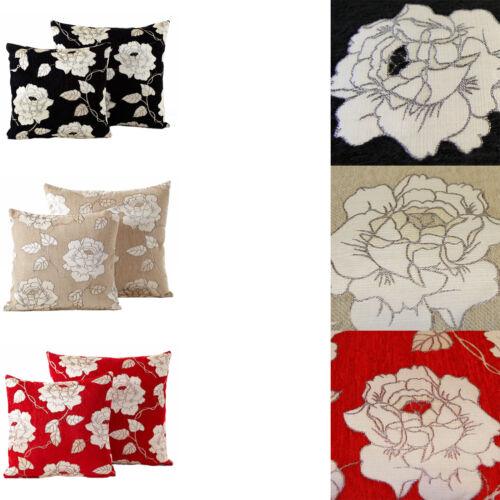 "Cream Red Black 55cm x 55cm Chenille Rose Corduroy Cushion Cover 22/"" x 22/"""